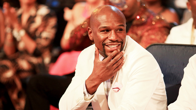 LOS ANGELES, CA - JUNE 28:  Professional boxer Floyd Mayweather, Jr. (L) attends the 2015 BET Awards at the Microsoft Theater on June 28, 2015 in Los Angeles, California.  (Photo by Christopher Polk/BET/Getty Images for BET)