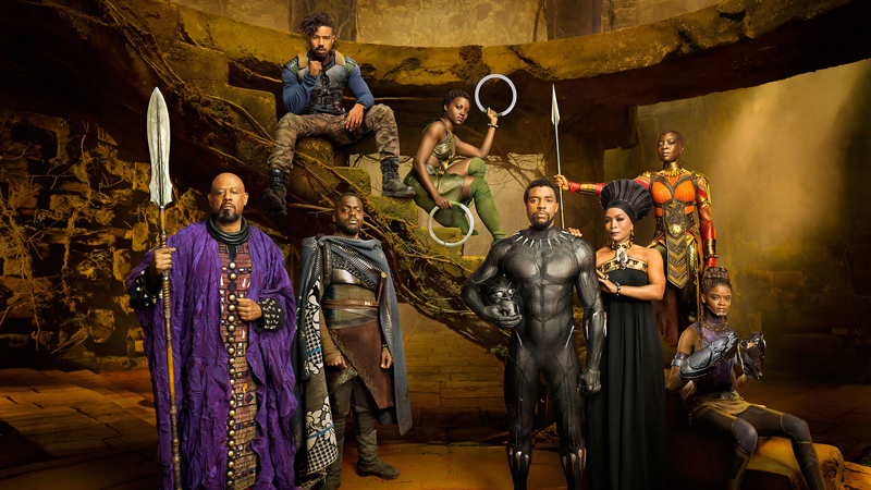 Marvel Studios' BLACK PANTHER<br /> Forest Whitaker as Zuri, Daniel Kaluuya as W'Kabi, Michael B. Jordan as Erik Killmonger, Lupita Nyong'o as Nakia, Chadwick Boseman as Black Panther/T'Challa, Angela Bassett as Ramonda, Danai Gurira as Okoye, and Letitia Wright as Shuri photographed exclusively for Entertainment Weekly by Kwaku Alston on March 18, 2017 in Atlanta, Georgia.<br /> Kwaku Alston � 2017 MVLFFLLC. TM & � 2017 Marvel. All Rights Reserved.